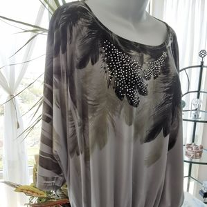 Gray and Black Blouse